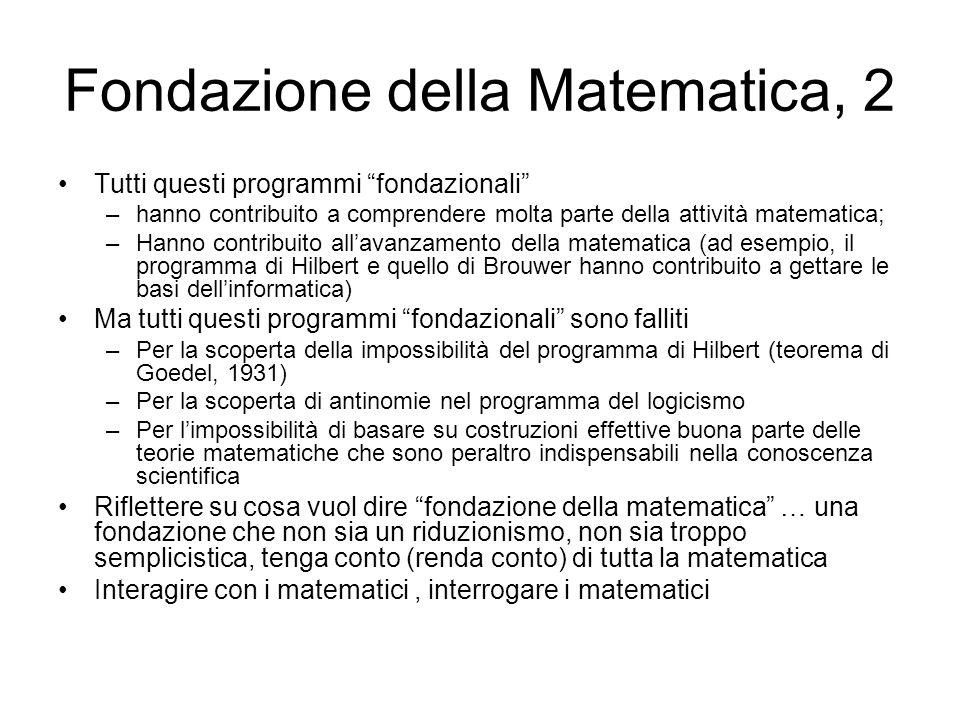 Fondazione della Matematica, 2 Tutti questi programmi fondazionali –hanno contribuito a comprendere molta parte della attività matematica; –Hanno cont