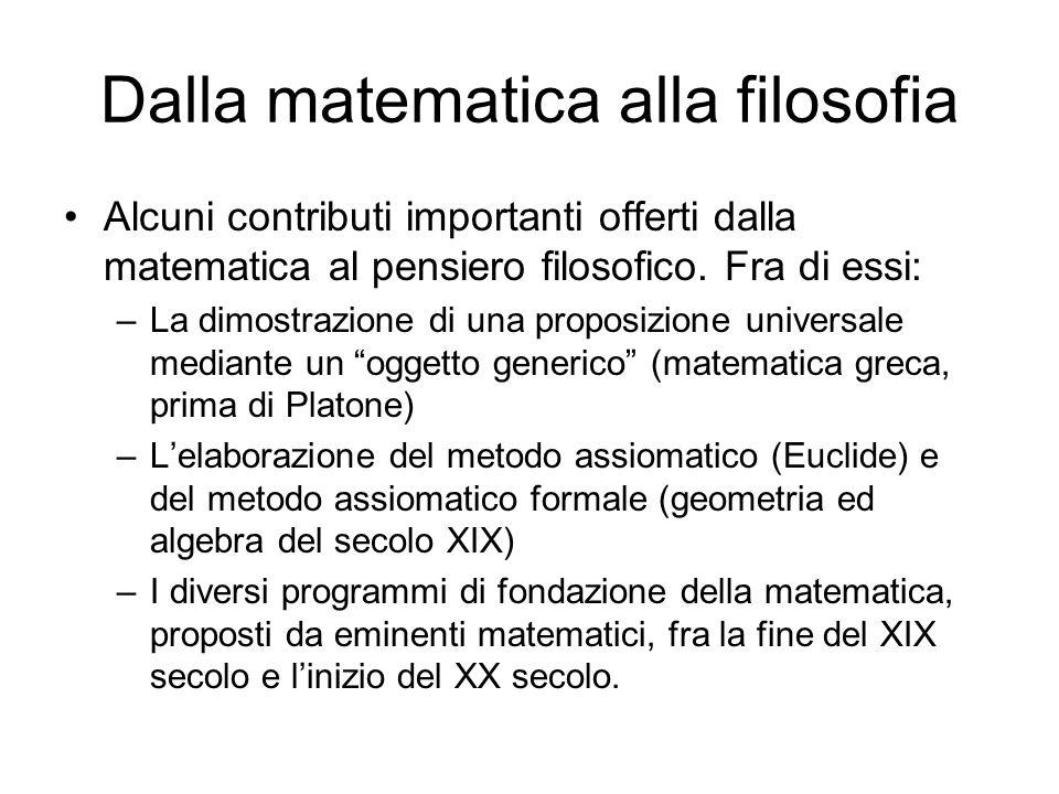 Dalla matematica alla filosofia Alcuni contributi importanti offerti dalla matematica al pensiero filosofico. Fra di essi: –La dimostrazione di una pr