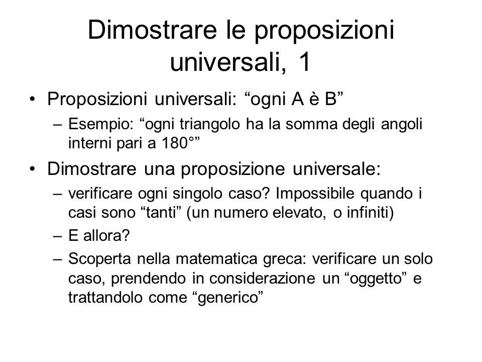 Dimostrare le proposizioni universali, 1 Proposizioni universali: ogni A è B –Esempio: ogni triangolo ha la somma degli angoli interni pari a 180° Dim