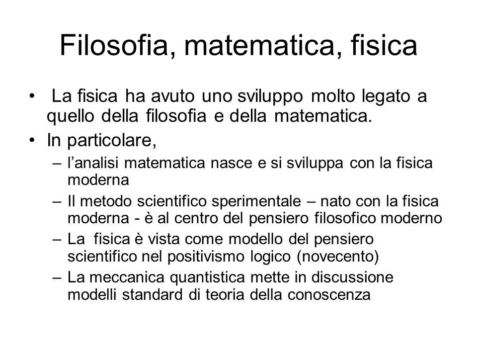 Filosofia, matematica, fisica La fisica ha avuto uno sviluppo molto legato a quello della filosofia e della matematica. In particolare, –lanalisi mate