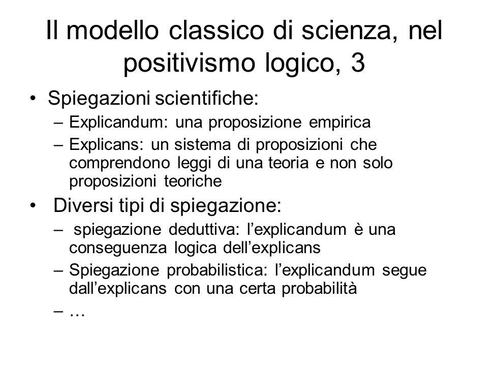 Il modello classico di scienza, nel positivismo logico, 3 Spiegazioni scientifiche: –Explicandum: una proposizione empirica –Explicans: un sistema di