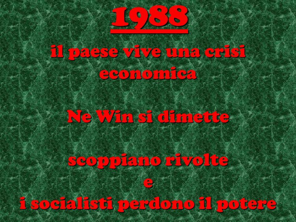il paese vive una crisi economica Ne Win si dimette scoppiano rivolte e i socialisti perdono il potere 1988