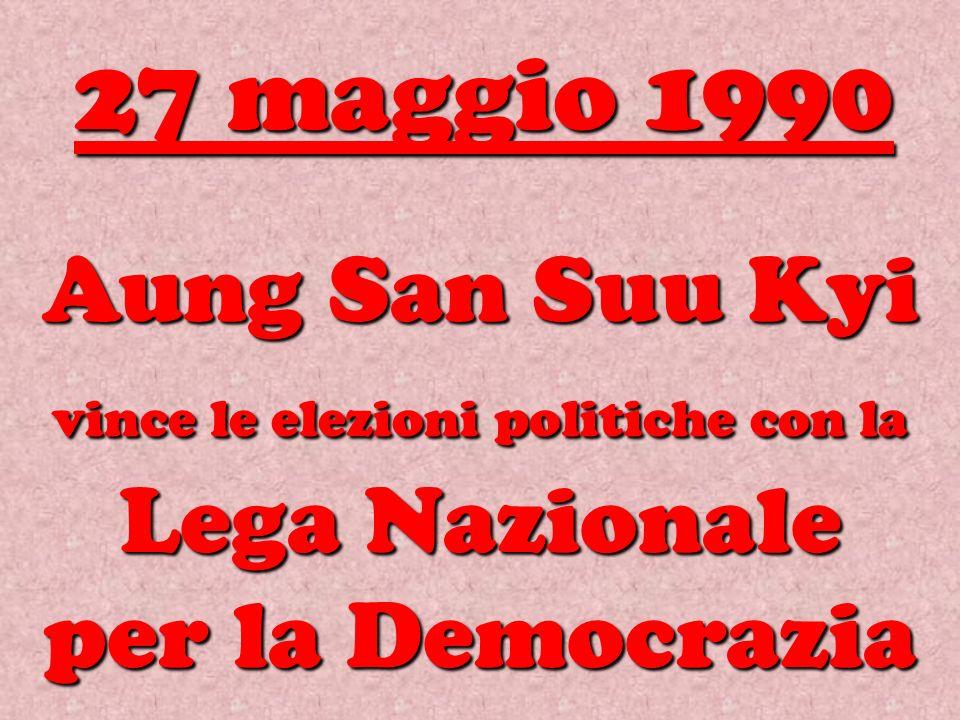 Aung San Suu Kyi vince le elezioni politiche con la Lega Nazionale per la Democrazia 27 maggio 1990