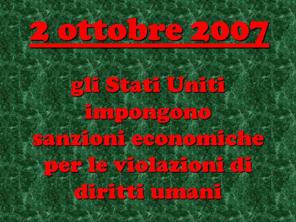 gli Stati Uniti impongono sanzioni economiche per le violazioni di diritti umani 2 ottobre 2007