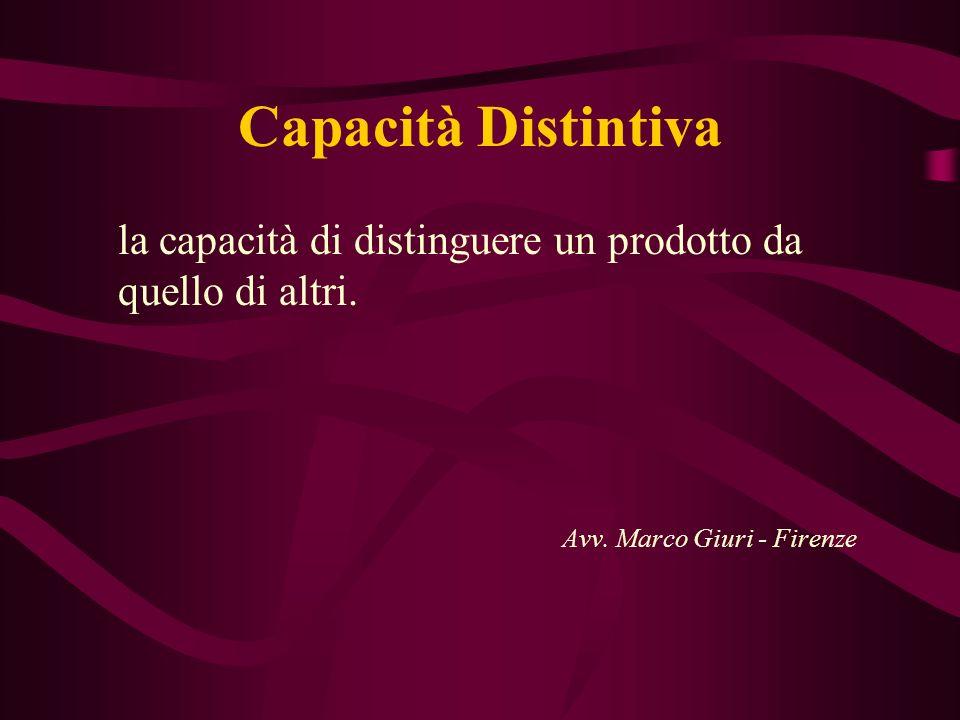 Capacità Distintiva la capacità di distinguere un prodotto da quello di altri. Avv. Marco Giuri - Firenze