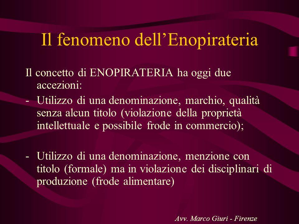 Il fenomeno dellEnopirateria Il concetto di ENOPIRATERIA ha oggi due accezioni: -Utilizzo di una denominazione, marchio, qualità senza alcun titolo (v