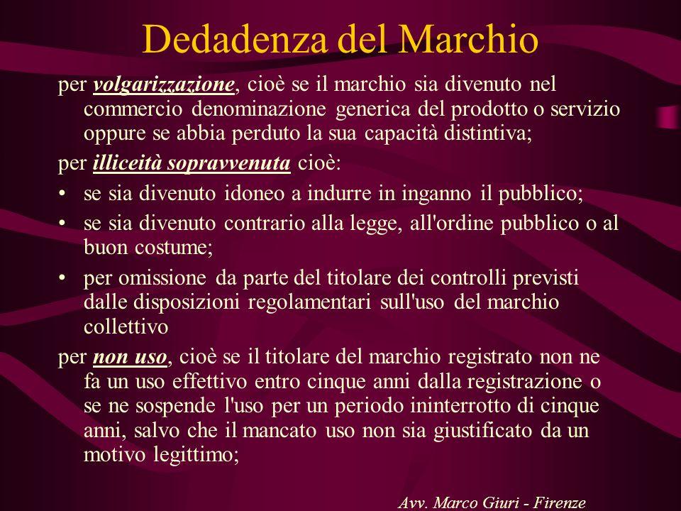 Dedadenza del Marchio per volgarizzazione, cioè se il marchio sia divenuto nel commercio denominazione generica del prodotto o servizio oppure se abbi