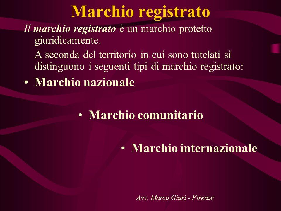Marchio registrato Il marchio registrato è un marchio protetto giuridicamente. A seconda del territorio in cui sono tutelati si distinguono i seguenti