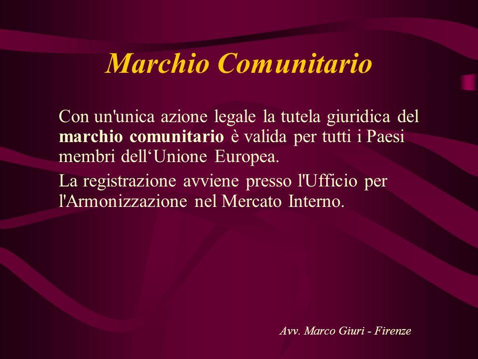 Marchio Comunitario Con un'unica azione legale la tutela giuridica del marchio comunitario è valida per tutti i Paesi membri dellUnione Europea. La re