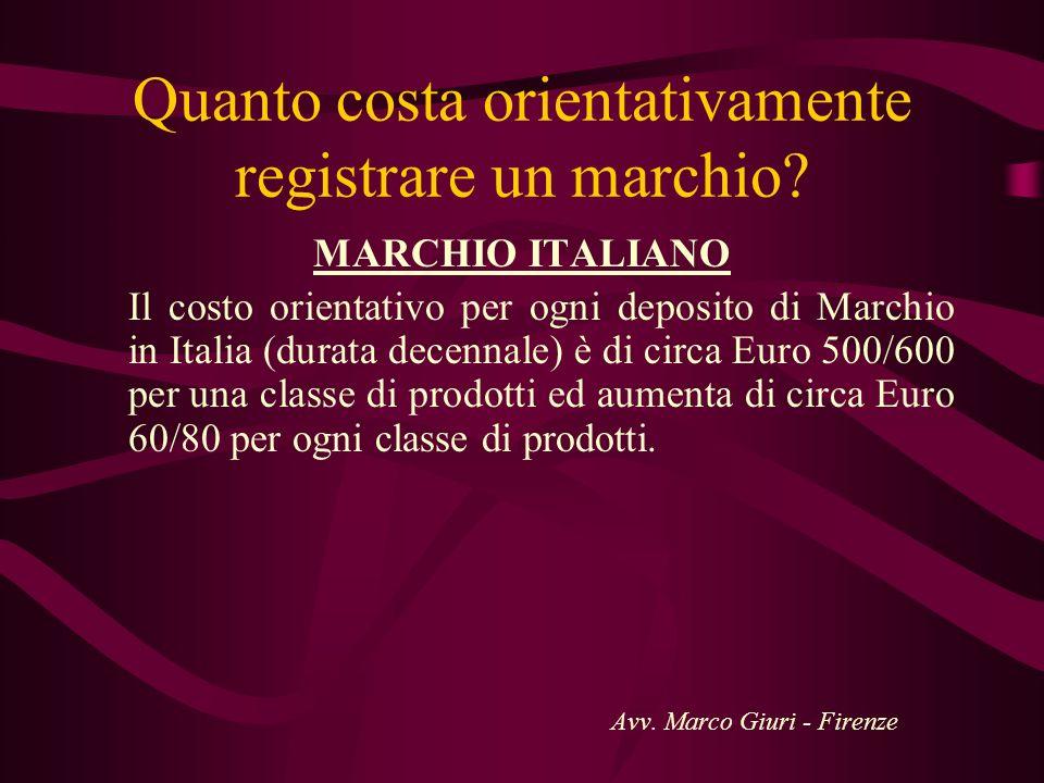Quanto costa orientativamente registrare un marchio? MARCHIO ITALIANO Il costo orientativo per ogni deposito di Marchio in Italia (durata decennale) è