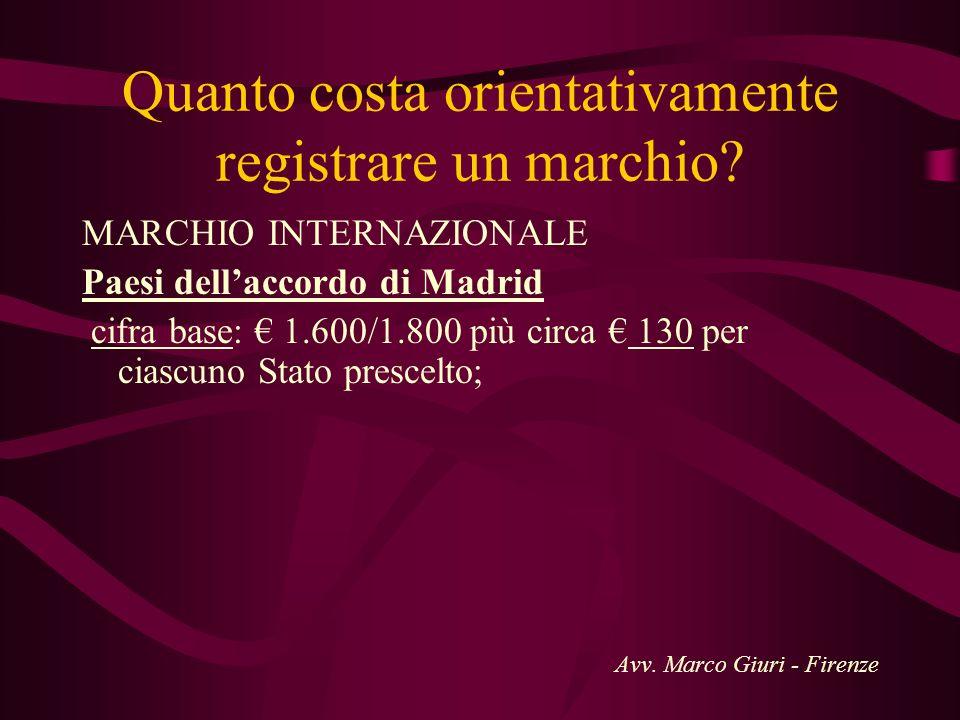 Quanto costa orientativamente registrare un marchio? MARCHIO INTERNAZIONALE Paesi dellaccordo di Madrid cifra base: 1.600/1.800 più circa 130 per cias