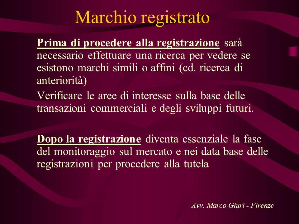 Marchio registrato Prima di procedere alla registrazione sarà necessario effettuare una ricerca per vedere se esistono marchi simili o affini (cd. ric