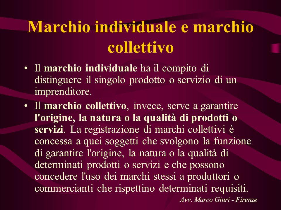 Marchio individuale e marchio collettivo Il marchio individuale ha il compito di distinguere il singolo prodotto o servizio di un imprenditore. Il mar
