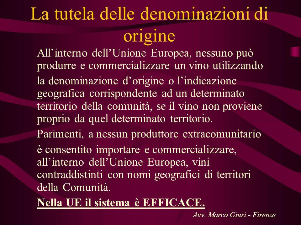 La tutela delle denominazioni di origine Allinterno dellUnione Europea, nessuno può produrre e commercializzare un vino utilizzando la denominazione d