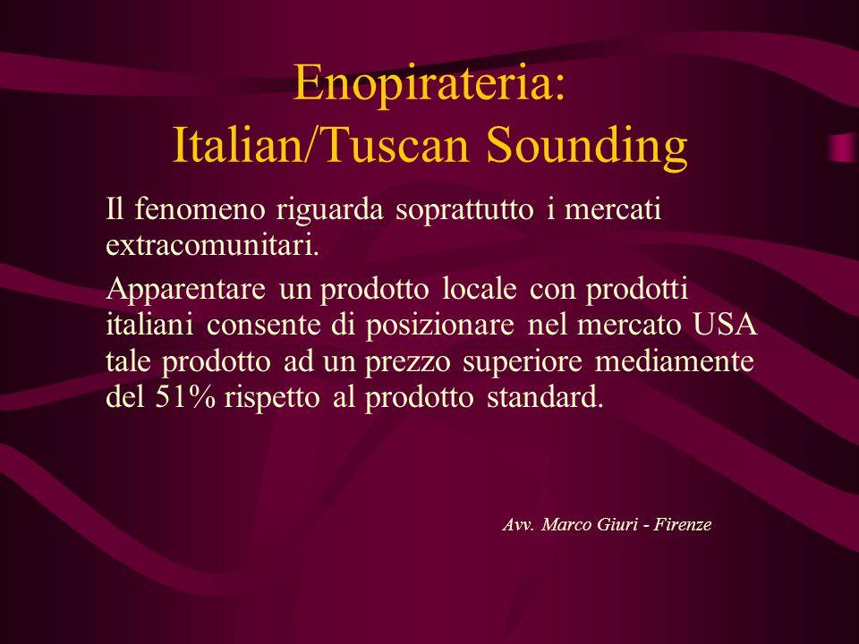 Enopirateria: Italian/Tuscan Sounding Il fenomeno riguarda soprattutto i mercati extracomunitari. Apparentare un prodotto locale con prodotti italiani