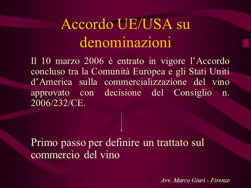 Accordo UE/USA su denominazioni Il 10 marzo 2006 è entrato in vigore lAccordo concluso tra la Comunità Europea e gli Stati Uniti dAmerica sulla commer