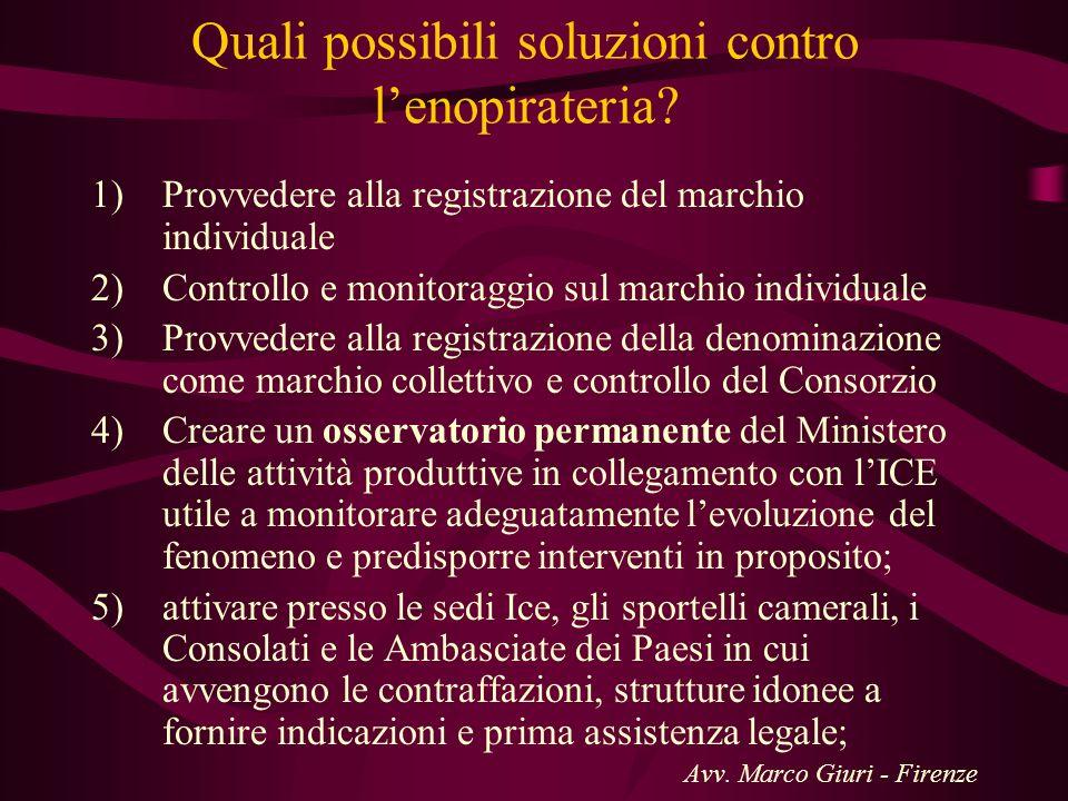 Quali possibili soluzioni contro lenopirateria? 1)Provvedere alla registrazione del marchio individuale 2)Controllo e monitoraggio sul marchio individ