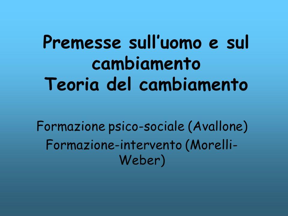 Premesse sulluomo e sul cambiamento Teoria del cambiamento Formazione psico-sociale (Avallone) Formazione-intervento (Morelli- Weber)