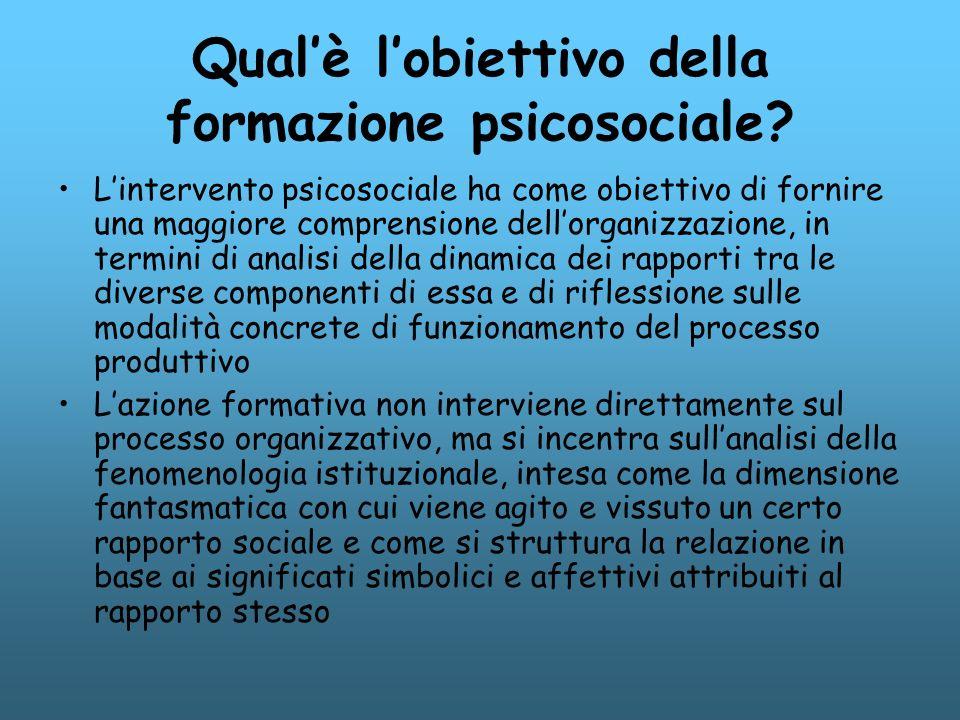 Qualè lobiettivo della formazione psicosociale? Lintervento psicosociale ha come obiettivo di fornire una maggiore comprensione dellorganizzazione, in