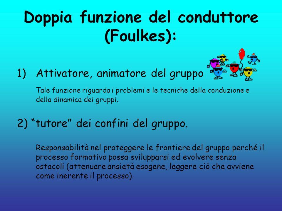 Doppia funzione del conduttore (Foulkes): 1)Attivatore, animatore del gruppo Tale funzione riguarda i problemi e le tecniche della conduzione e della