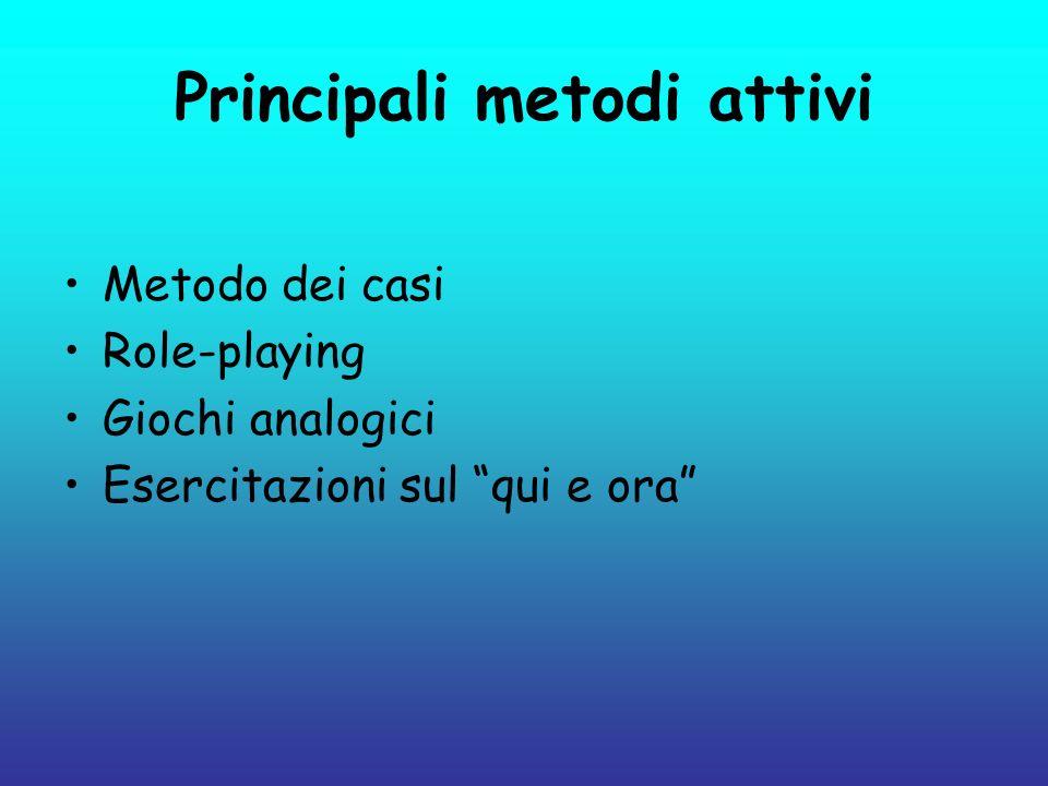 Principali metodi attivi Metodo dei casi Role-playing Giochi analogici Esercitazioni sul qui e ora