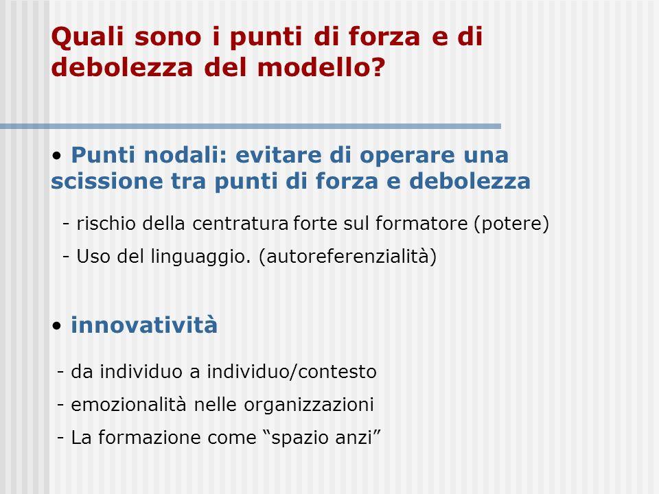 Quali sono i punti di forza e di debolezza del modello? innovatività Punti nodali: evitare di operare una scissione tra punti di forza e debolezza - d