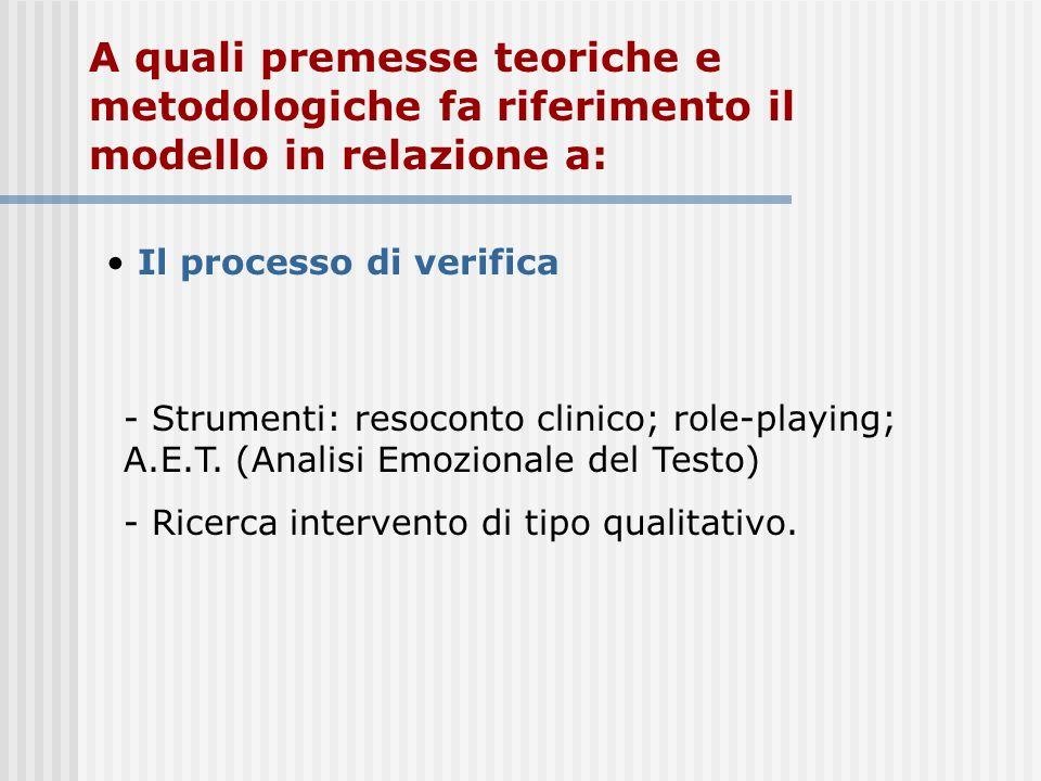 A quali premesse teoriche e metodologiche fa riferimento il modello in relazione a: Il processo di verifica - Strumenti: resoconto clinico; role-playi