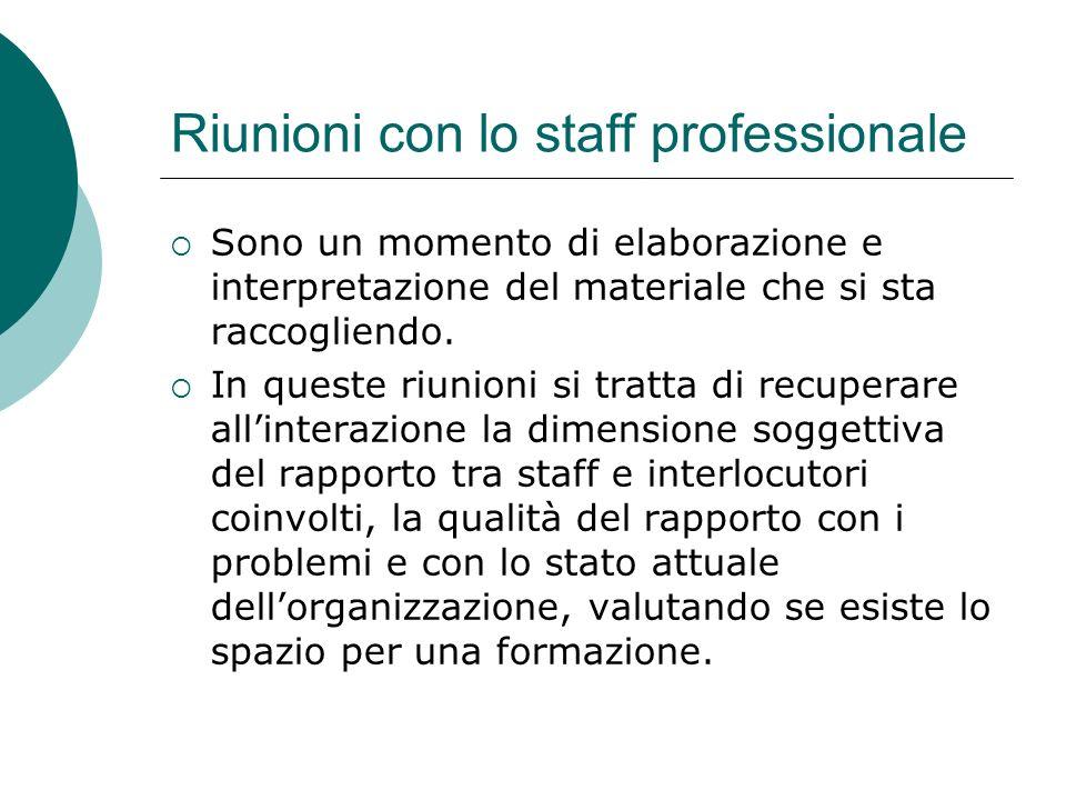 Riunioni con lo staff professionale Sono un momento di elaborazione e interpretazione del materiale che si sta raccogliendo.