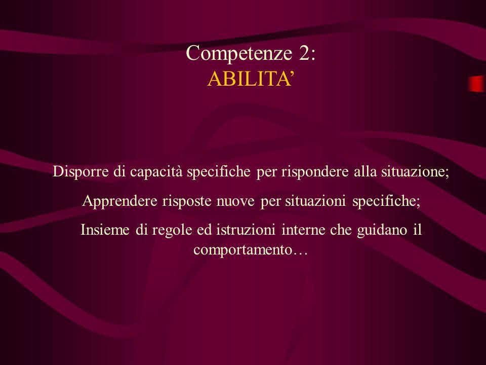 Competenze 2: ABILITA Disporre di capacità specifiche per rispondere alla situazione; Apprendere risposte nuove per situazioni specifiche; Insieme di