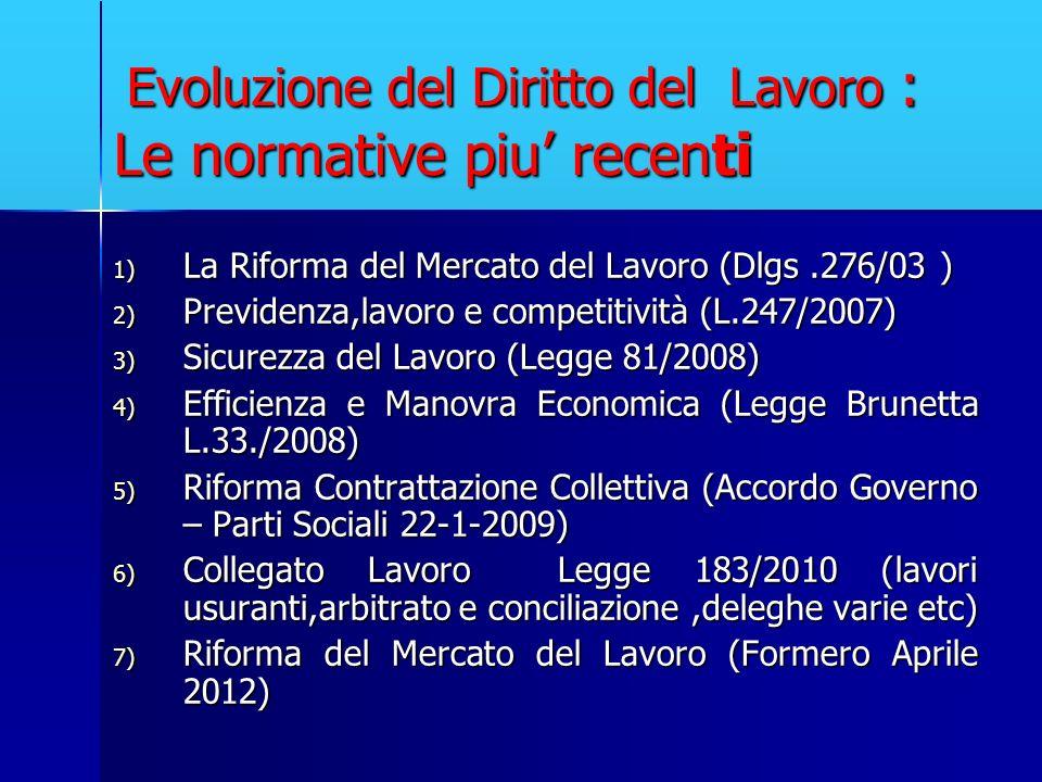 Evoluzione del Diritto del Lavoro : Le normative piu recenti Evoluzione del Diritto del Lavoro : Le normative piu recenti 1) La Riforma del Mercato de
