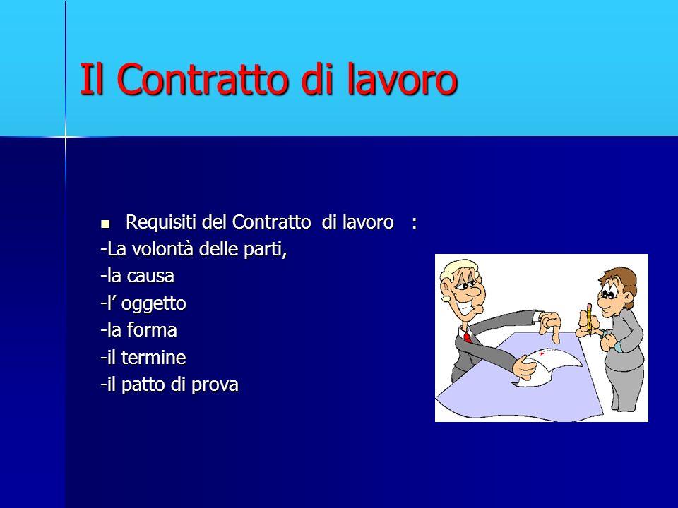 Il Contratto di lavoro Requisiti del Contratto di lavoro : Requisiti del Contratto di lavoro : -La volontà delle parti, -la causa -l oggetto -la forma