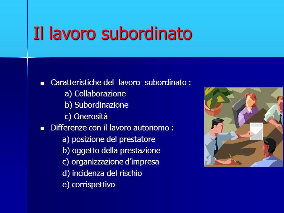 Il lavoro subordinato Caratteristiche del lavoro subordinato : a) Collaborazione b) Subordinazione c) Onerosità Differenze con il lavoro autonomo : a)