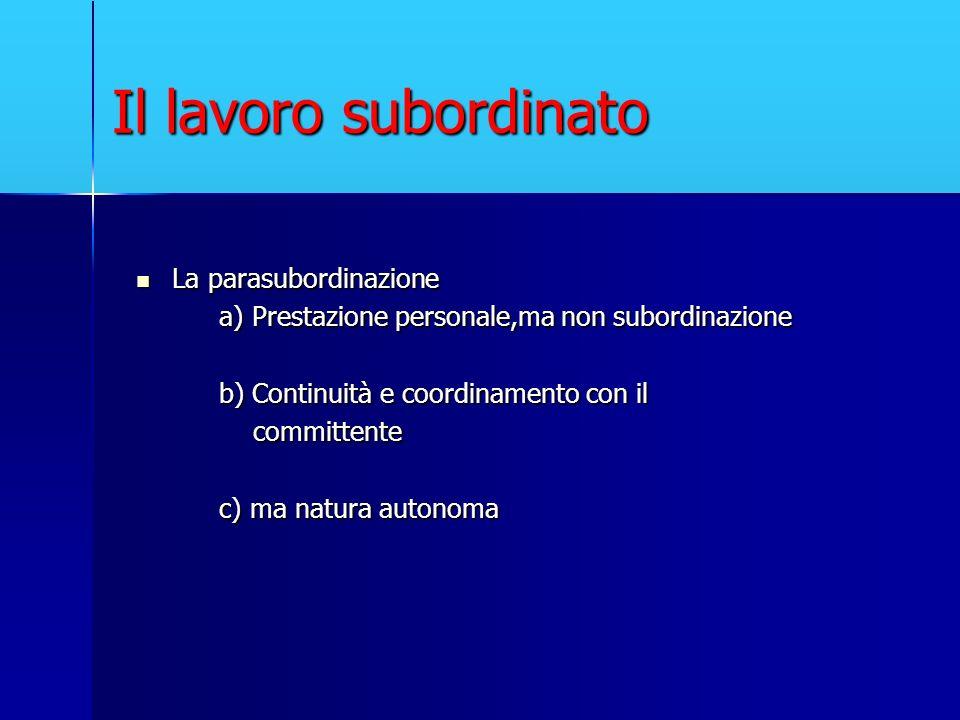 Il lavoro subordinato La parasubordinazione La parasubordinazione a) Prestazione personale,ma non subordinazione a) Prestazione personale,ma non subor