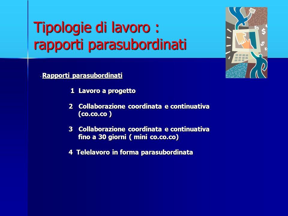 Tipologie di lavoro : rapporti parasubordinati - Rapporti parasubordinati 1 Lavoro a progetto 1 Lavoro a progetto 2 Collaborazione coordinata e contin