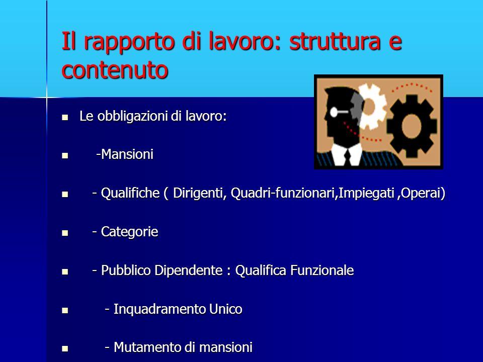 Il rapporto di lavoro: struttura e contenuto Le obbligazioni di lavoro: Le obbligazioni di lavoro: -Mansioni -Mansioni - Qualifiche ( Dirigenti, Quadr