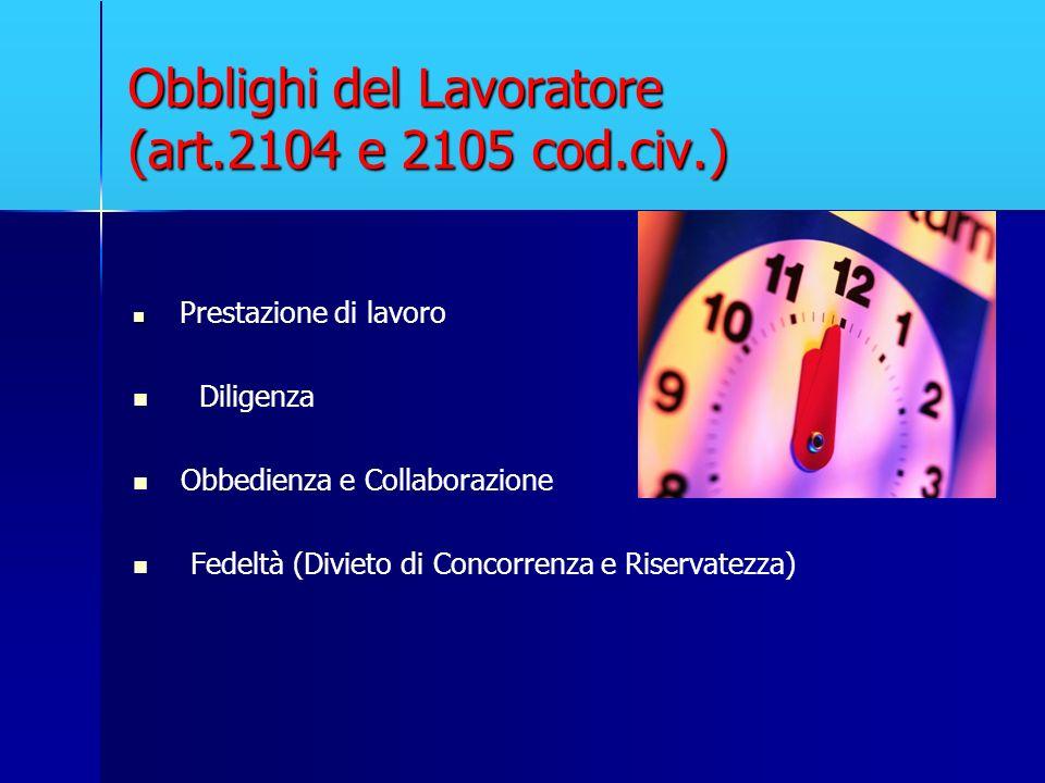 Obblighi del Lavoratore (art.2104 e 2105 cod.civ.) Prestazione di lavoro Diligenza Obbedienza e Collaborazione Fedeltà (Divieto di Concorrenza e Riser