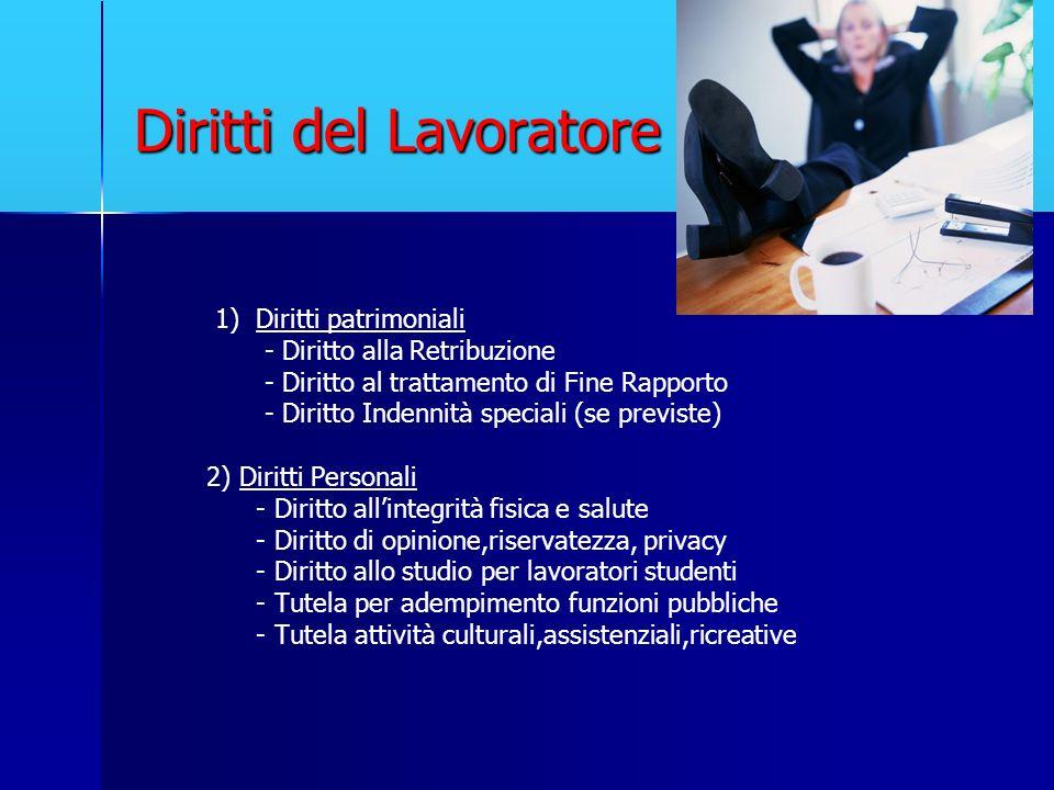 Diritti del Lavoratore 1) Diritti patrimoniali - Diritto alla Retribuzione - Diritto al trattamento di Fine Rapporto - Diritto Indennità speciali (se