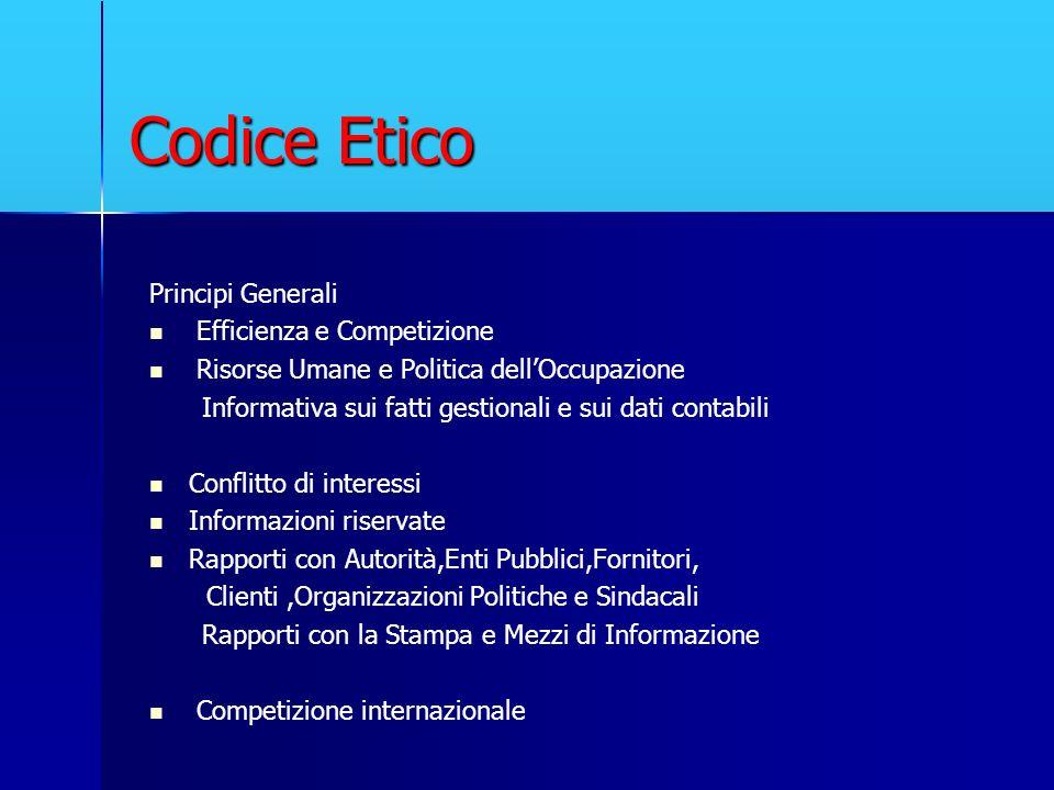 Codice Etico Principi Generali Efficienza e Competizione Risorse Umane e Politica dellOccupazione Informativa sui fatti gestionali e sui dati contabil