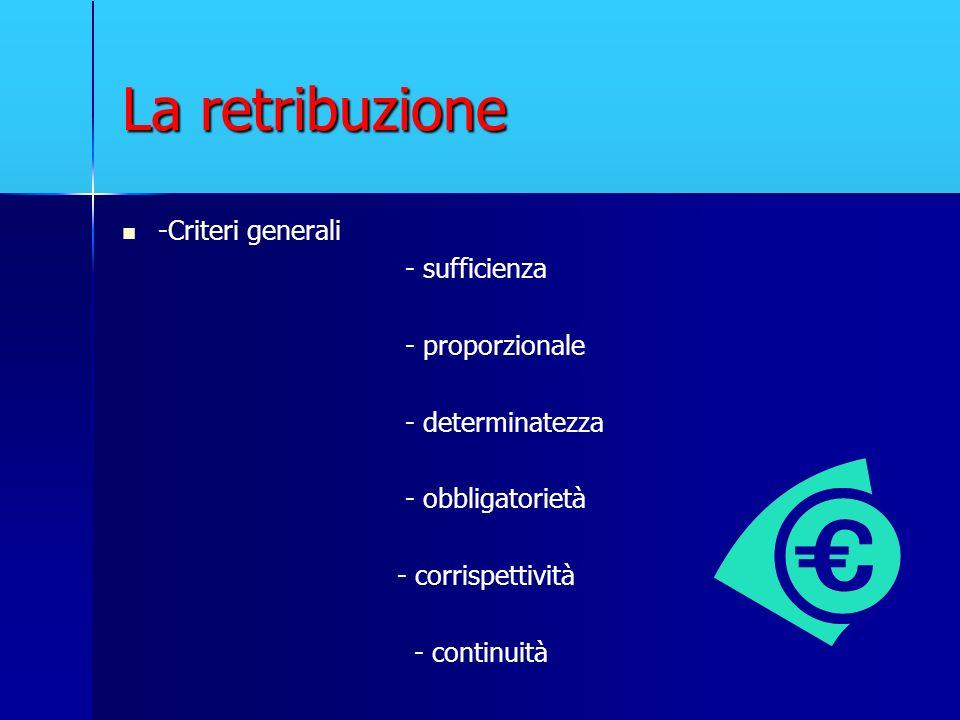 La retribuzione -Criteri generali - sufficienza - proporzionale - determinatezza - obbligatorietà - corrispettività - continuità