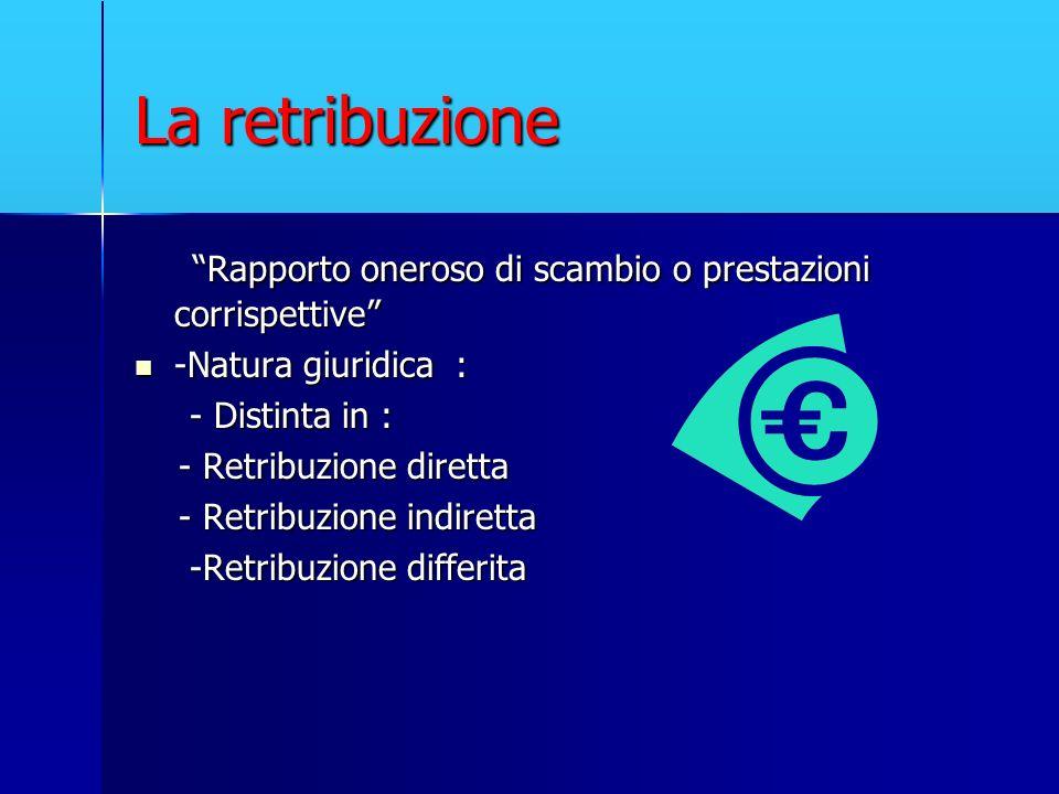 La retribuzione Rapporto oneroso di scambio o prestazioni corrispettive Rapporto oneroso di scambio o prestazioni corrispettive -Natura giuridica : -N