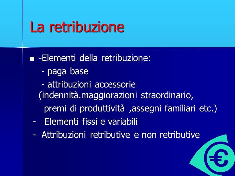 La retribuzione -Elementi della retribuzione: - paga base - attribuzioni accessorie (indennità.maggiorazioni straordinario, premi di produttività,asse