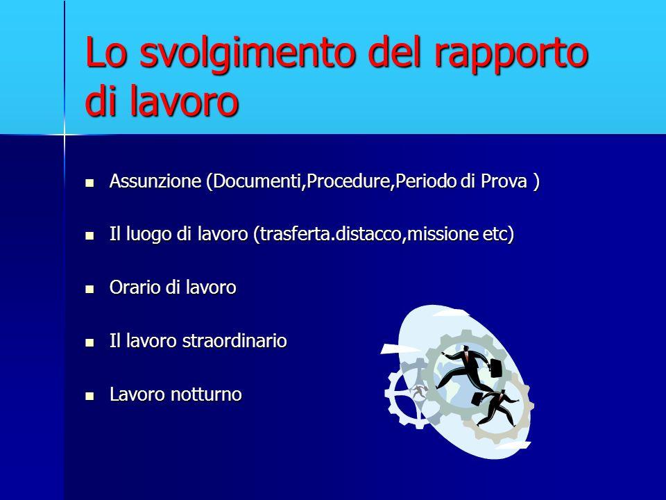 Lo svolgimento del rapporto di lavoro Assunzione (Documenti,Procedure,Periodo di Prova ) Assunzione (Documenti,Procedure,Periodo di Prova ) Il luogo d