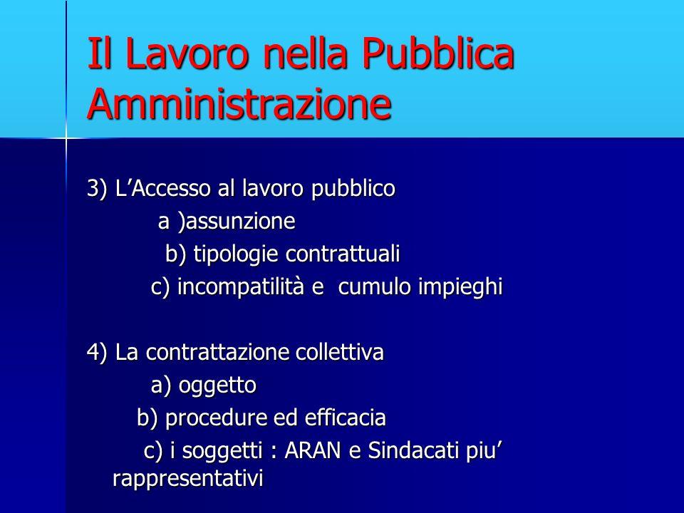 Il Lavoro nella Pubblica Amministrazione 3) LAccesso al lavoro pubblico a )assunzione a )assunzione b) tipologie contrattuali b) tipologie contrattual