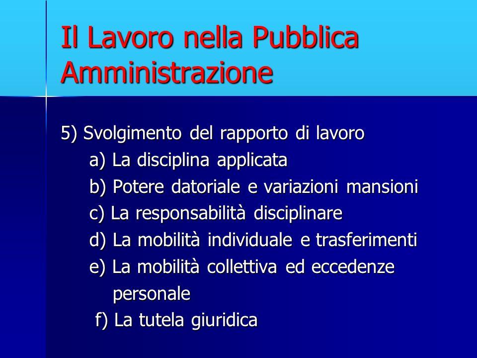 Il Lavoro nella Pubblica Amministrazione 5) Svolgimento del rapporto di lavoro a) La disciplina applicata a) La disciplina applicata b) Potere datoria