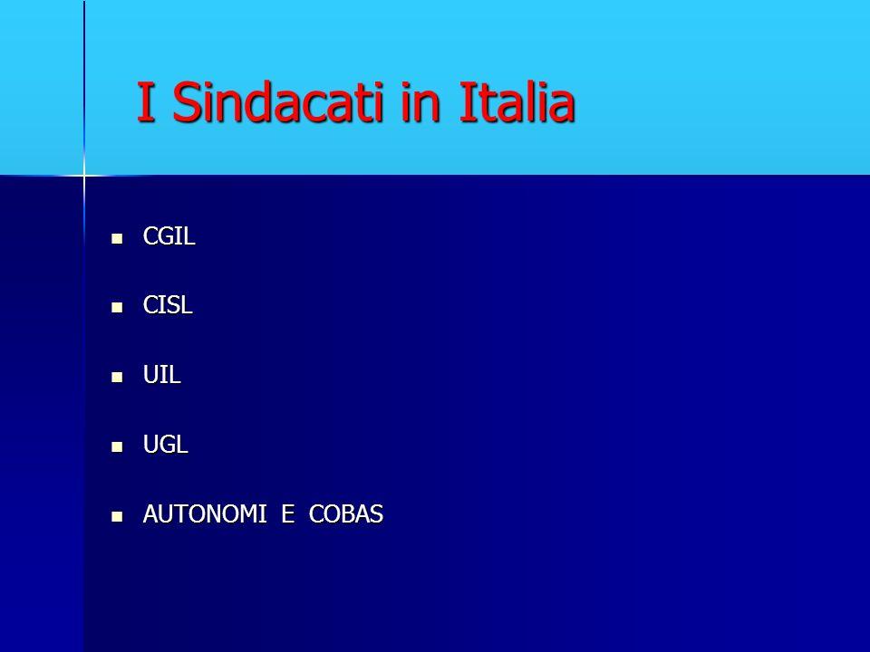 I Sindacati in Italia CGIL CGIL CISL CISL UIL UIL UGL UGL AUTONOMI E COBAS AUTONOMI E COBAS