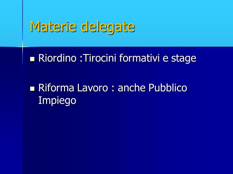 Materie delegate Riordino :Tirocini formativi e stage Riordino :Tirocini formativi e stage Riforma Lavoro : anche Pubblico Impiego Riforma Lavoro : an