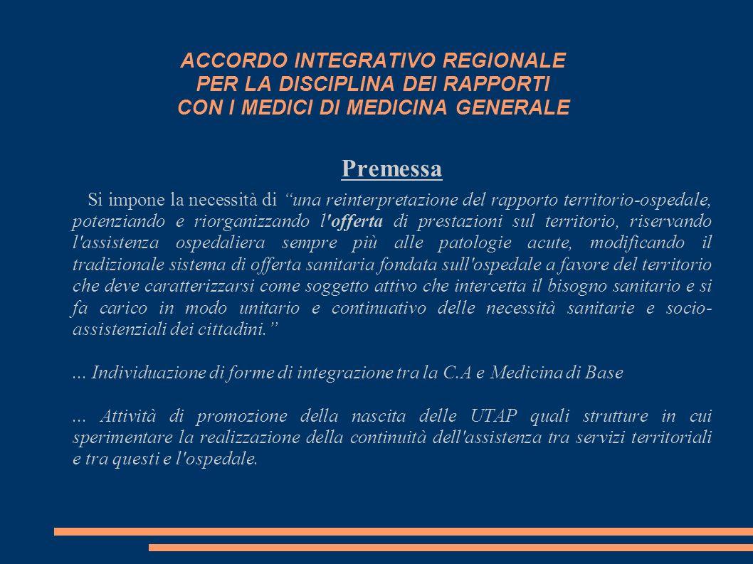 ACCORDO INTEGRATIVO REGIONALE PER LA DISCIPLINA DEI RAPPORTI CON I MEDICI DI MEDICINA GENERALE Premessa Si impone la necessità di una reinterpretazion