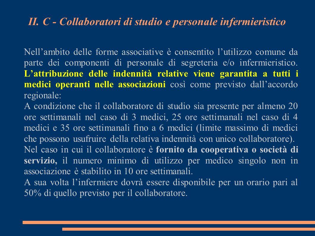 II. C - Collaboratori di studio e personale infermieristico Nellambito delle forme associative è consentito lutilizzo comune da parte dei componenti d