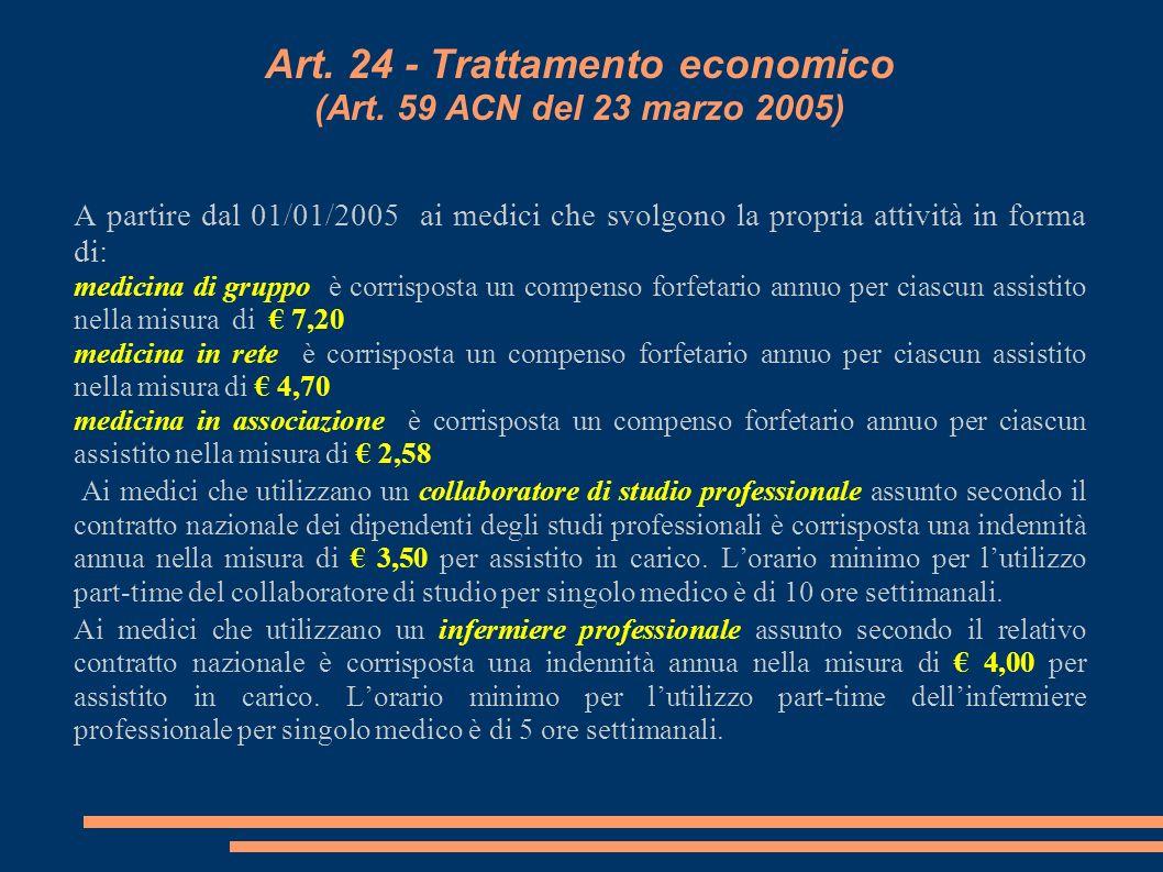 Art. 24 - Trattamento economico (Art. 59 ACN del 23 marzo 2005) A partire dal 01/01/2005 ai medici che svolgono la propria attività in forma di: medic