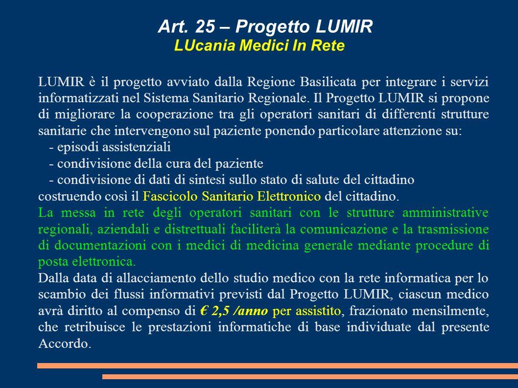 Art. 25 – Progetto LUMIR LUcania Medici In Rete LUMIR è il progetto avviato dalla Regione Basilicata per integrare i servizi informatizzati nel Sistem